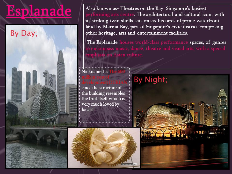 Esplanade By Day; By Night; Also known as- Theatres on the Bay. Singapore's busiest performing arts centre. The architectural and cultural icon, with