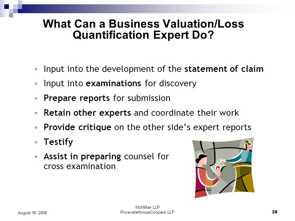 McMillan LLP PricewaterhouseCoopers LLP28 August 18, 2008 What Can a Business Valuation/Loss Quantification Expert Do.