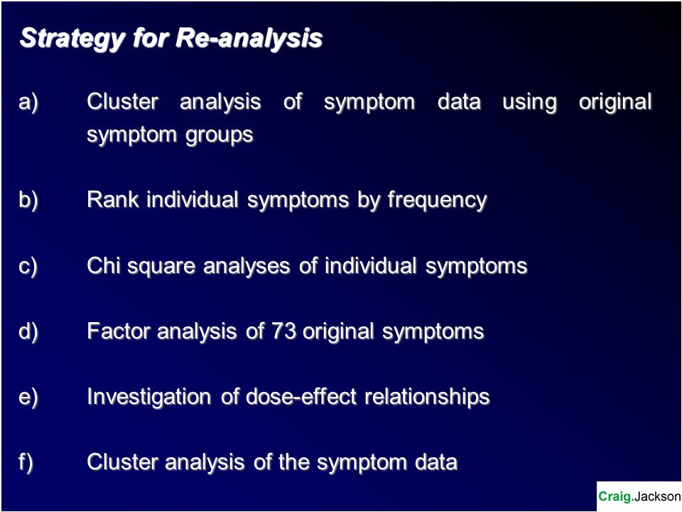 Strategy for Re-analysis a) Cluster analysis of symptom data using original symptom groups b) Rank individual symptoms by frequency c) Chi square analyses of individual symptoms d) Factor analysis of 73 original symptoms e)Investigation of dose-effect relationships f)Cluster analysis of the symptom data