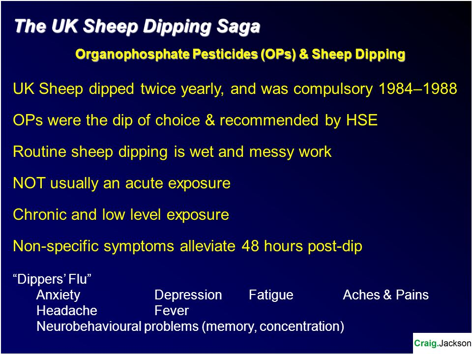 Dippers' Flu Dipping sheep with Organophosphate Pesticides Traditionally tied to collection of non-specific symptoms Manifests shortly after dipping Spontaneously remits usually after 48 hours Is there really any truth in this collection of symptoms.