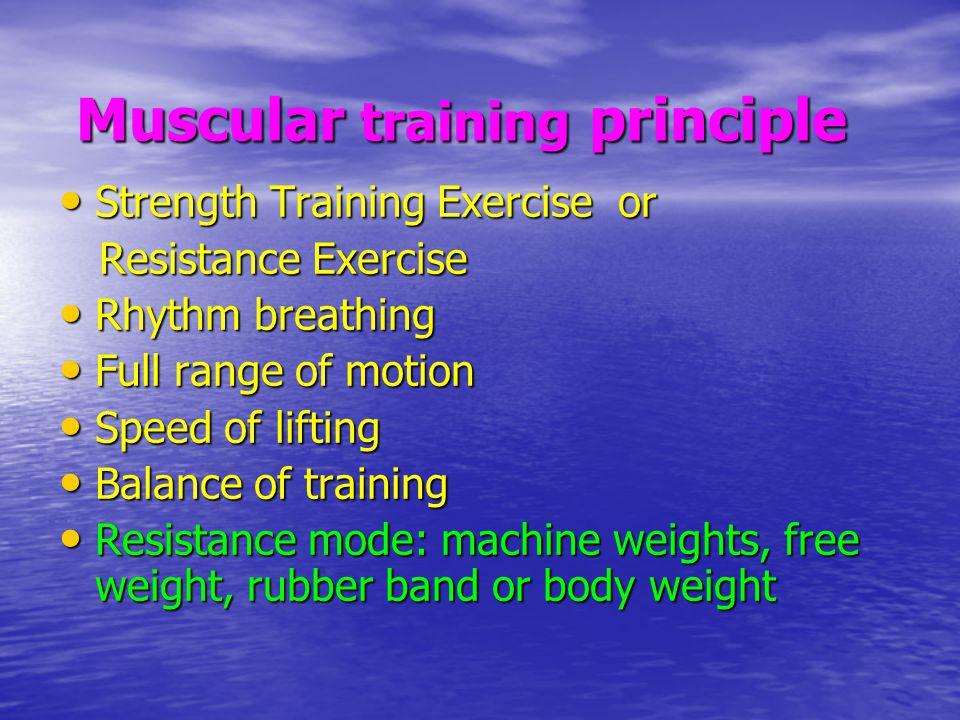 Muscular training principle Muscular training principle Strength Training Exercise or Strength Training Exercise or Resistance Exercise Resistance Exe