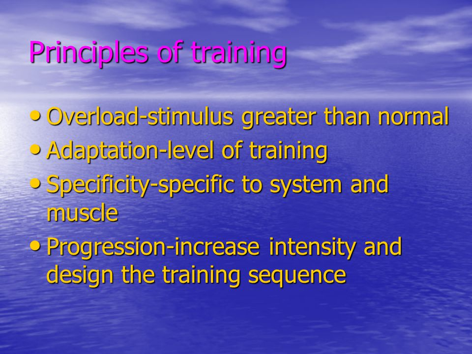 Exercise Duration 20-60 minutes/sesssion 20-60 minutes/sesssion Continuous or intermittent Continuous or intermittent (10 min.