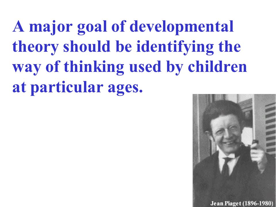 A major goal of developmental theory should be identifying the way of thinking used by children at particular ages.