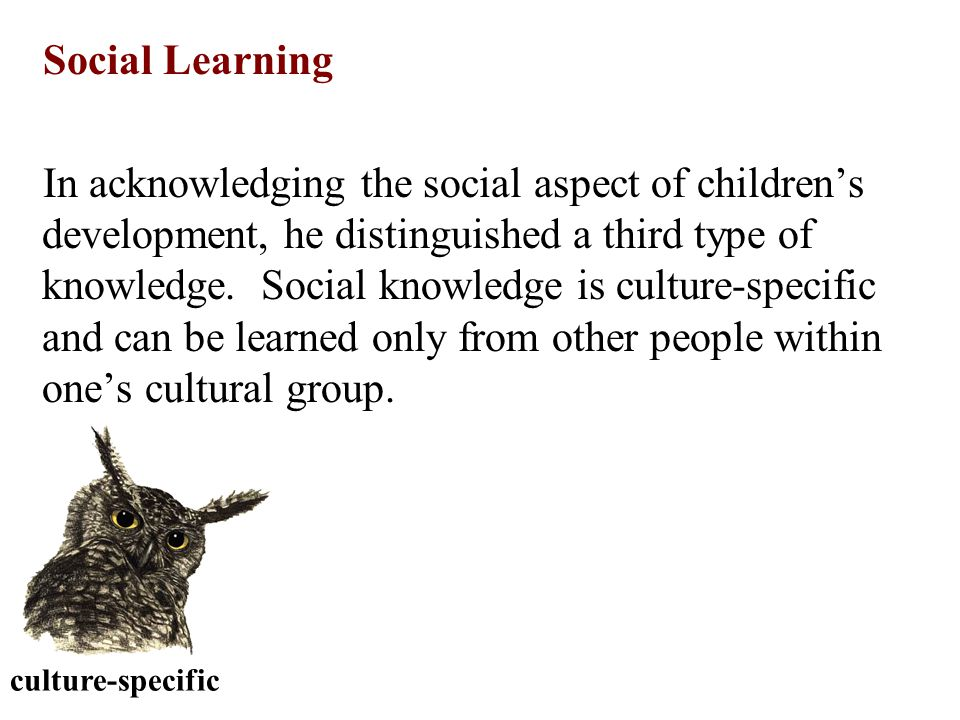 culture-specific Social Learning In acknowledging the social aspect of children's development, he distinguished a third type of knowledge. Social know