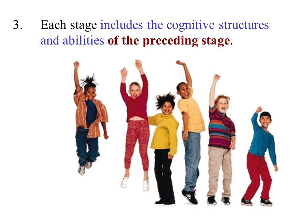 3.Each stage includes the cognitive structures and abilities of the preceding stage.