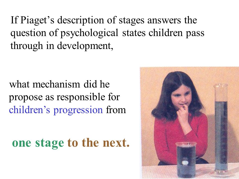If Piaget's description of stages answers the question of psychological states children pass through in development, what mechanism did he propose as