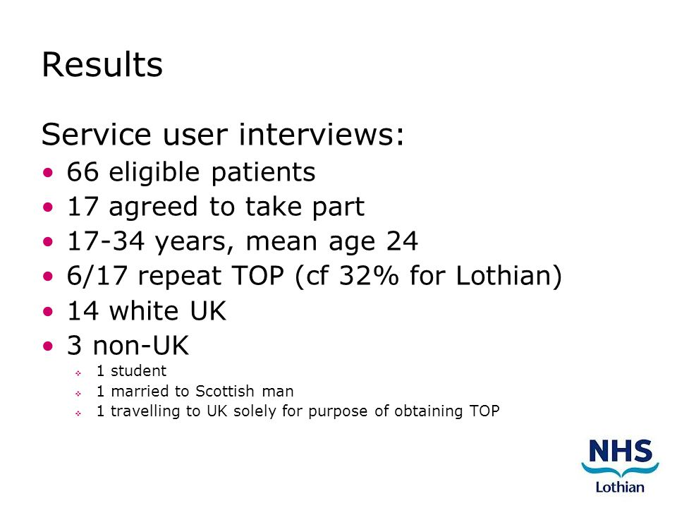 Results Service user interviews: 66 eligible patients 17 agreed to take part 17-34 years, mean age 24 6/17 repeat TOP (cf 32% for Lothian) 14 white UK 3 non-UK  1 student  1 married to Scottish man  1 travelling to UK solely for purpose of obtaining TOP