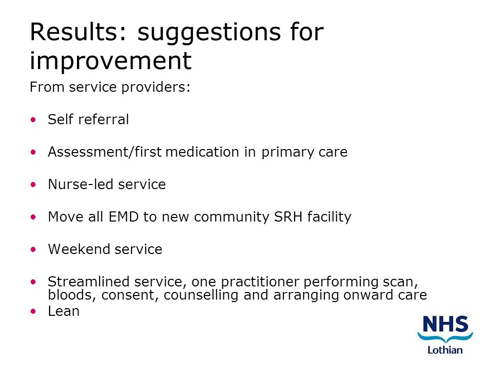 Results: suggestions for improvement From service providers: Self referral Assessment/first medication in primary care Nurse-led service Move all EMD to new community SRH facility Weekend service Streamlined service, one practitioner performing scan, bloods, consent, counselling and arranging onward care Lean