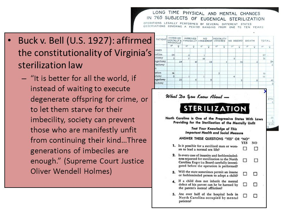 "Buck v. Bell (U.S. 1927): affirmed the constitutionality of Virginia's sterilization law – ""It is better for all the world, if instead of waiting to e"