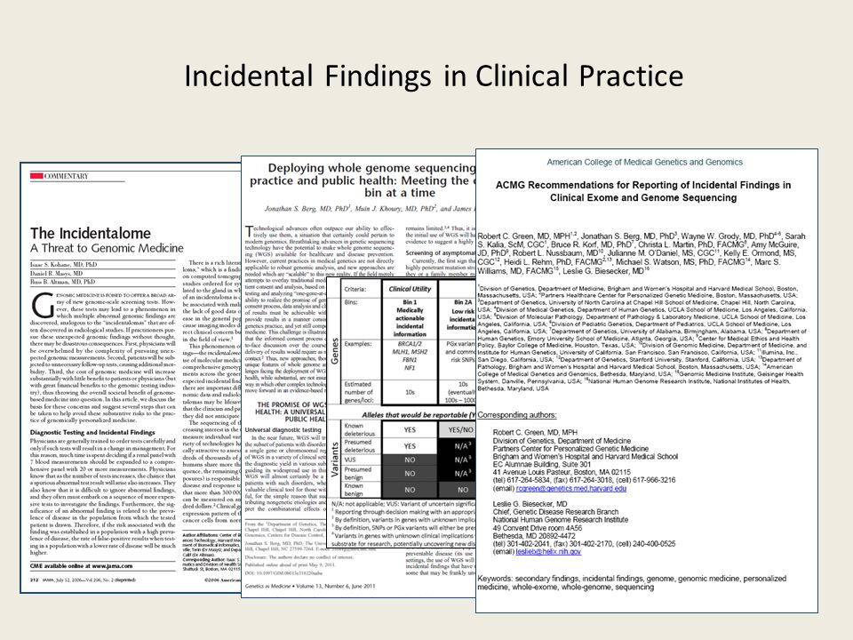 Incidental Findings in Clinical Practice
