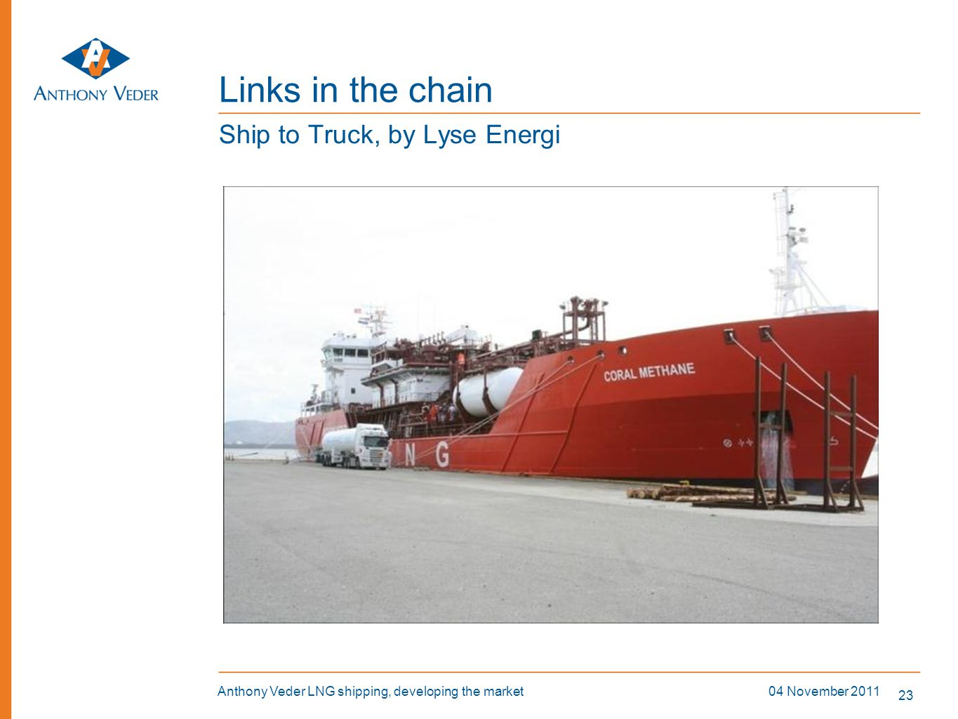 23 04 November 2011Anthony Veder LNG shipping, developing the market Links in the chain Ship to Truck, by Lyse Energi