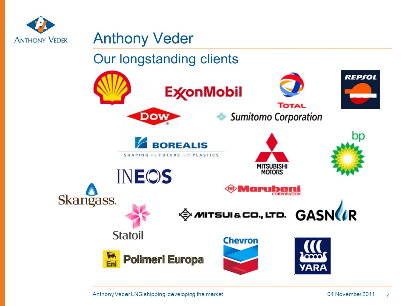7 04 November 2011Anthony Veder LNG shipping, developing the market Anthony Veder Our longstanding clients