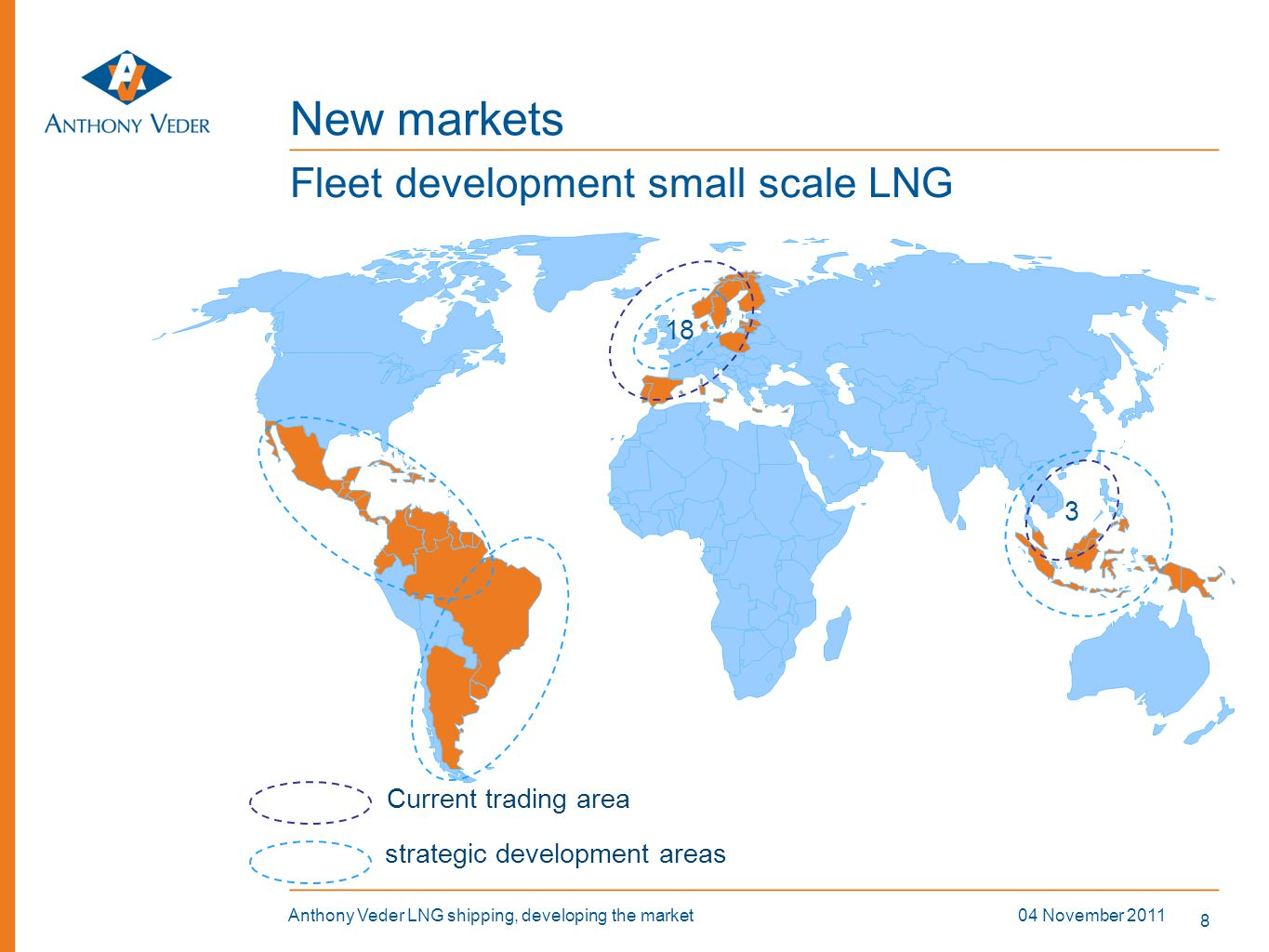 8 04 November 2011Anthony Veder LNG shipping, developing the market New markets Fleet development small scale LNG 18 3 Current trading area strategic