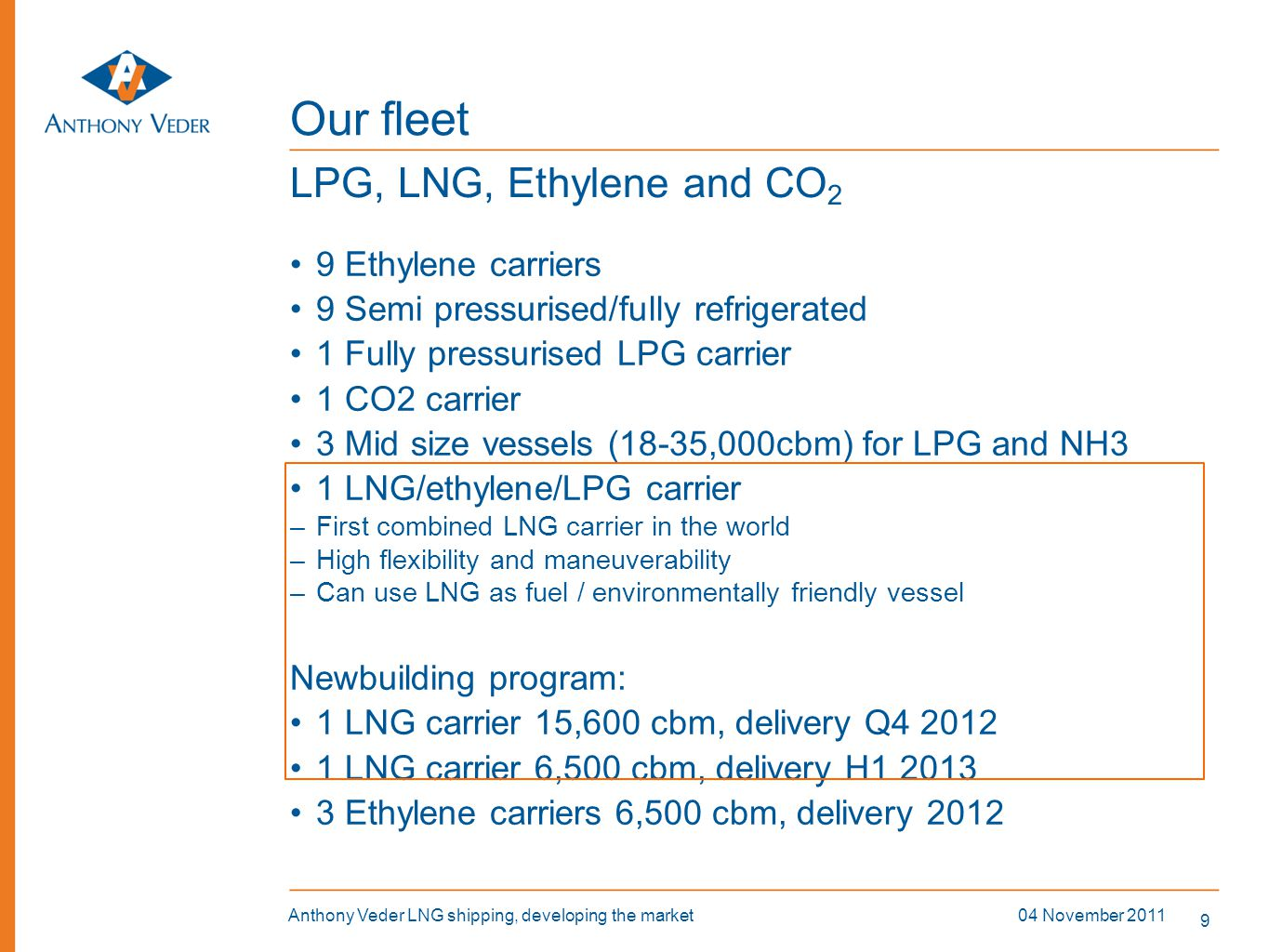 20 04 November 2011Anthony Veder LNG shipping, developing the market Elevated manifolds