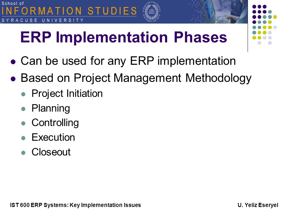 IST 600 ERP Systems: Key Implementation Issues U. Yeliz Eseryel Phase-5 Go Live & Support
