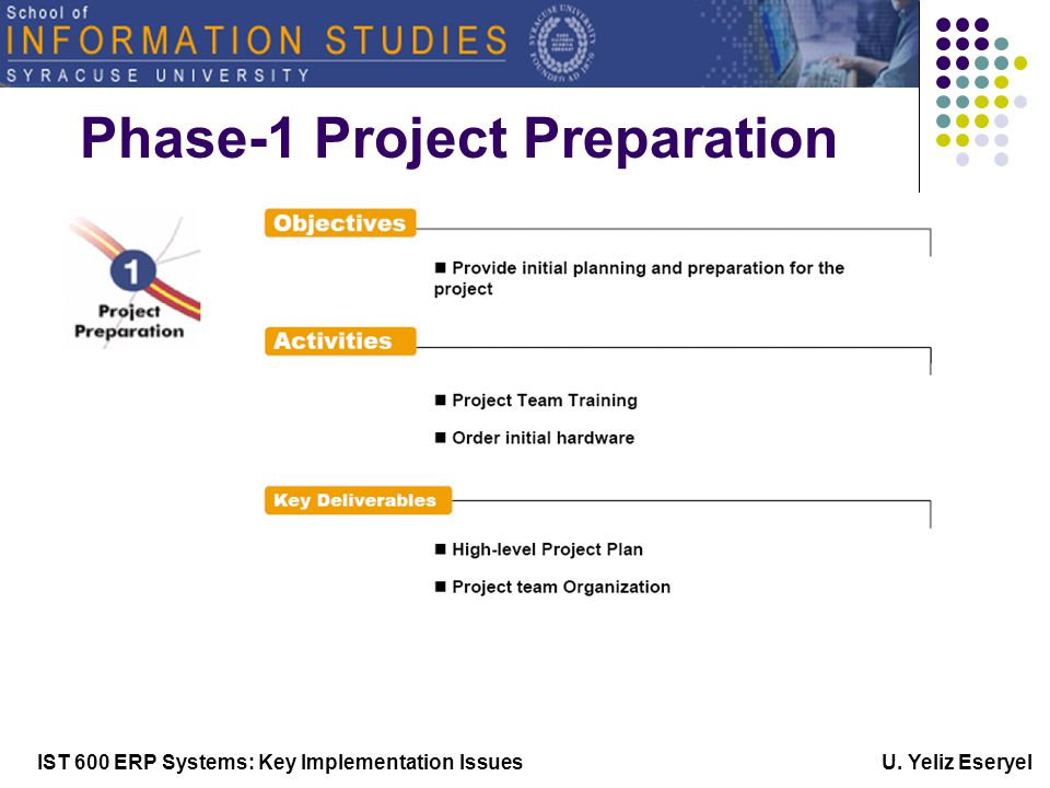 IST 600 ERP Systems: Key Implementation Issues U. Yeliz Eseryel Phase-1 Project Preparation