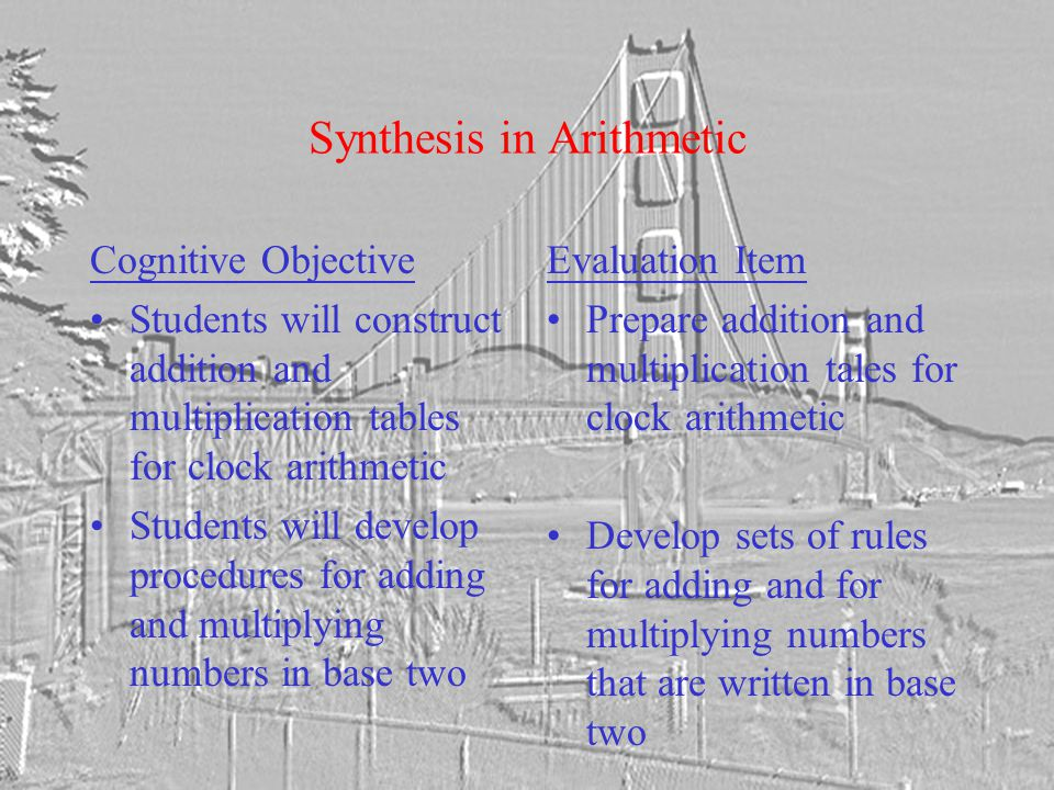 Synthesis in Arithmetic Cognitive Objective Students will construct addition and multiplication tables for clock arithmetic Students will develop procedures for adding and multiplying numbers in base two Evaluation Item Prepare addition and multiplication tales for clock arithmetic Develop sets of rules for adding and for multiplying numbers that are written in base two