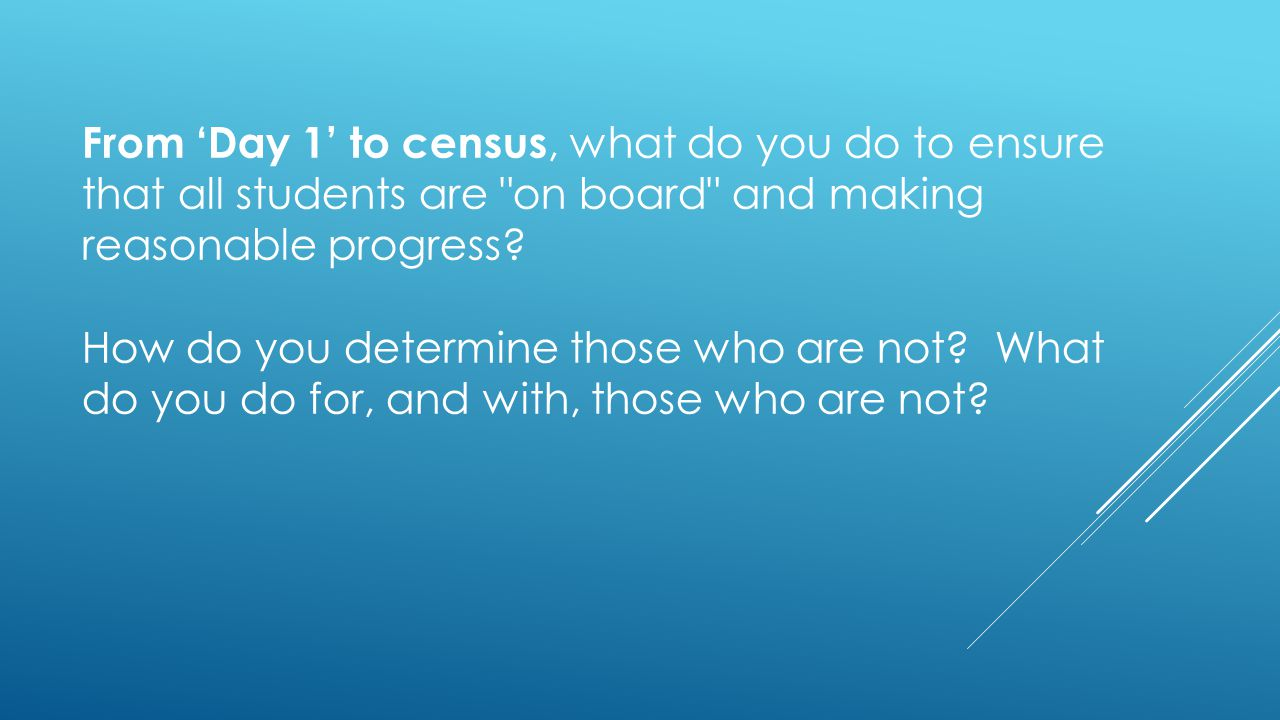 From 'Day 1' to census, what do you do to ensure that all students are on board and making reasonable progress.