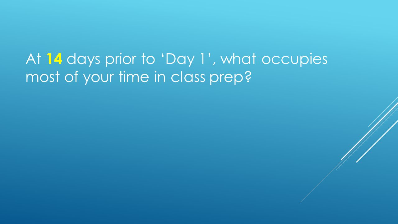 At 14 days prior to 'Day 1', what occupies most of your time in class prep