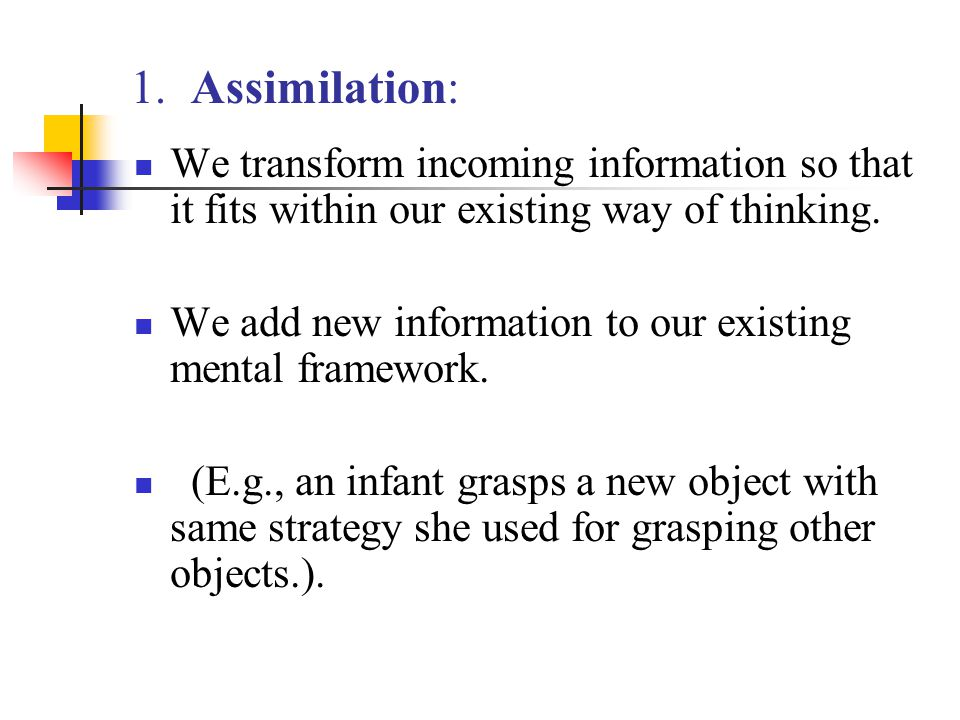 1. Assimilation: We transform incoming information so that it fits within our existing way of thinking. We add new information to our existing mental
