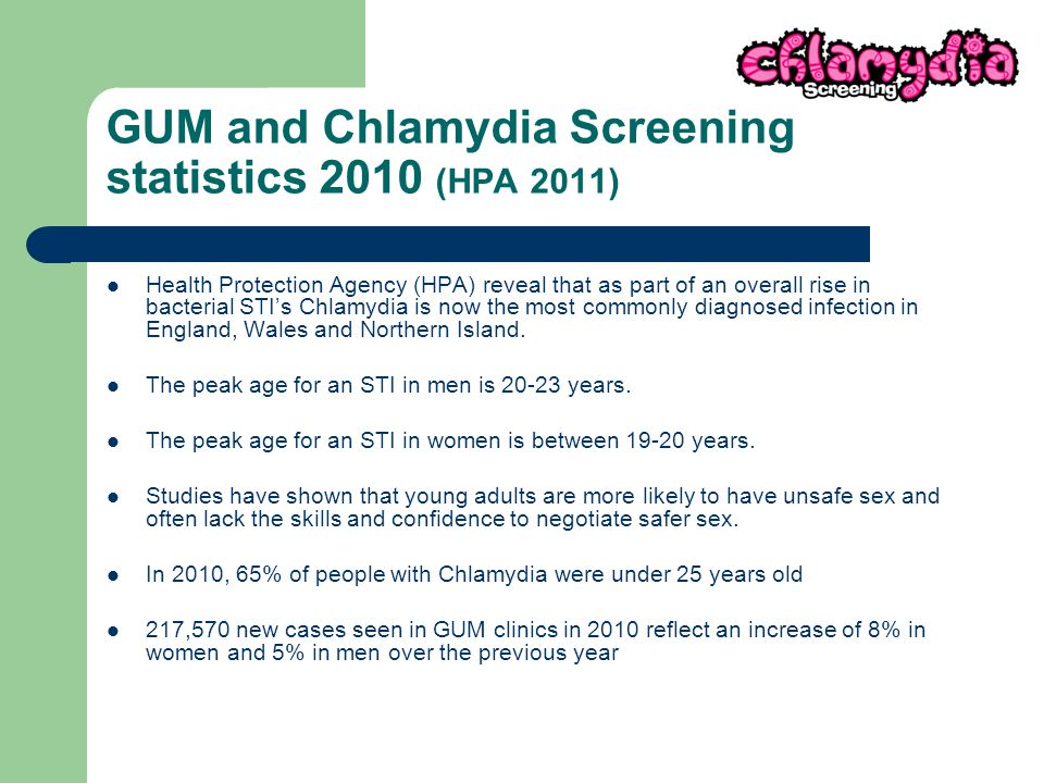 GUM and Chlamydia Screening statistics 2010 (HPA 2011) Health Protection Agency (HPA) reveal that as part of an overall rise in bacterial STI's Chlamydia is now the most commonly diagnosed infection in England, Wales and Northern Island.