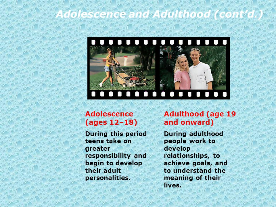 Adolescence and Adulthood (cont'd.) Adolescence (ages 12–18) During this period teens take on greater responsibility and begin to develop their adult