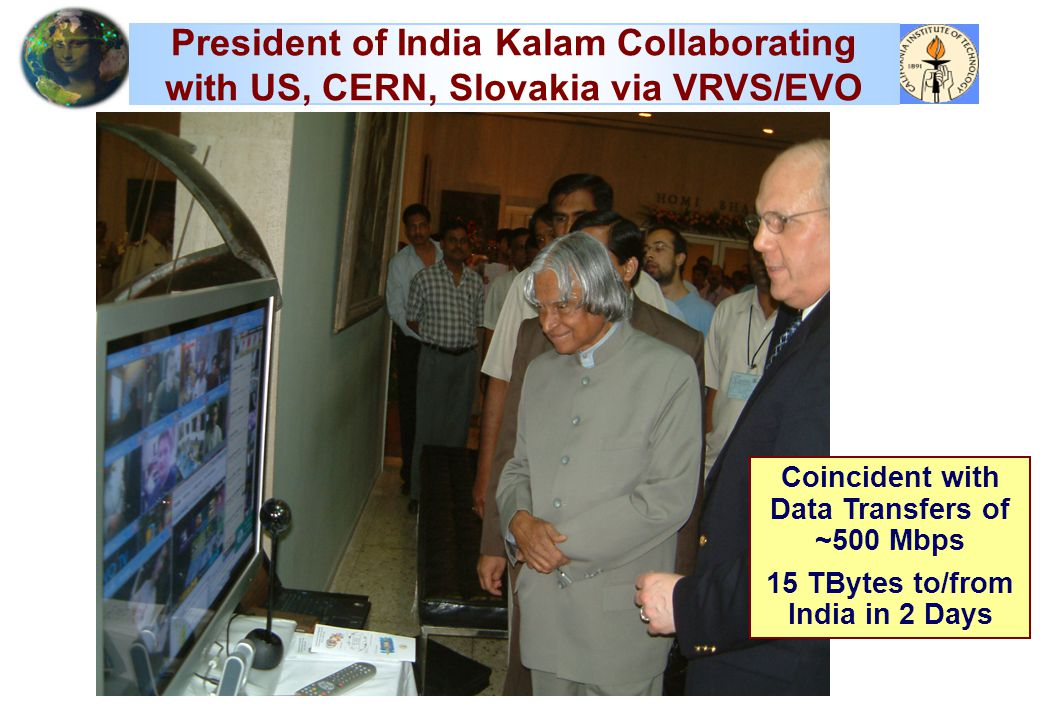 President of India Kalam Collaborating with US, CERN, Slovakia via VRVS/EVO Coincident with Data Transfers of ~500 Mbps 15 TBytes to/from India in 2 Days