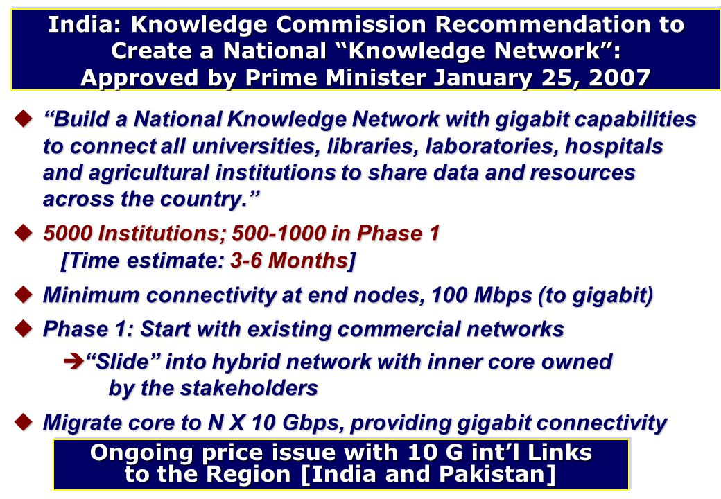 """India: Knowledge Commission Recommendation to Create a National """"Knowledge Network"""": Approved by Prime Minister January 25, 2007 u""""Build a National Kn"""