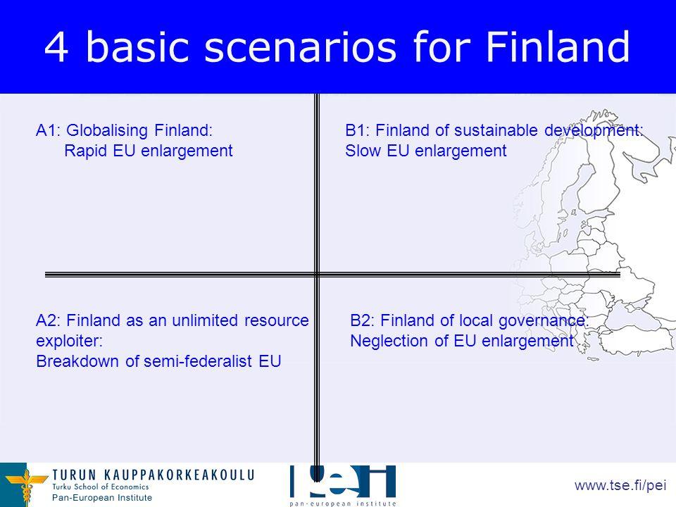 www.tse.fi/pei 4 basic scenarios for Finland A1: Globalising Finland: Rapid EU enlargement A2: Finland as an unlimited resource exploiter: Breakdown of semi-federalist EU B1: Finland of sustainable development: Slow EU enlargement B2: Finland of local governance: Neglection of EU enlargement