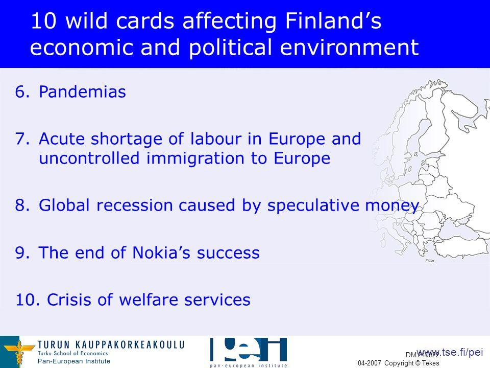 www.tse.fi/pei DM 240922 04-2007 Copyright © Tekes 10 wild cards affecting Finland's economic and political environment 6.