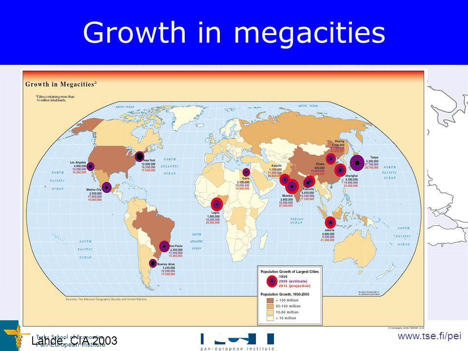 www.tse.fi/pei Growth in megacities Lähde: CIA 2003
