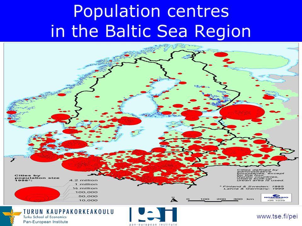 www.tse.fi/pei Population centres in the Baltic Sea Region