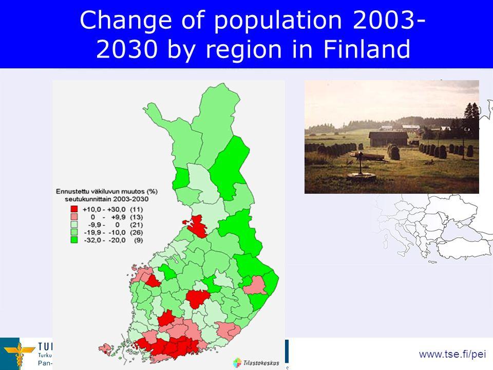 www.tse.fi/pei Change of population 2003- 2030 by region in Finland
