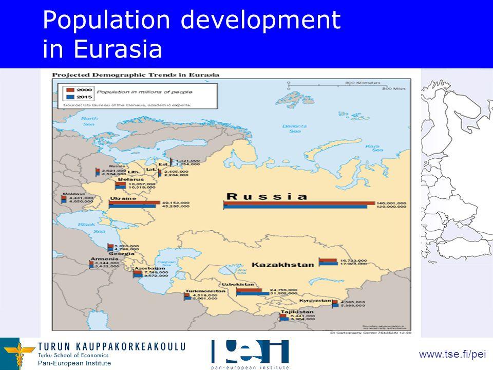 www.tse.fi/pei Population development in Eurasia