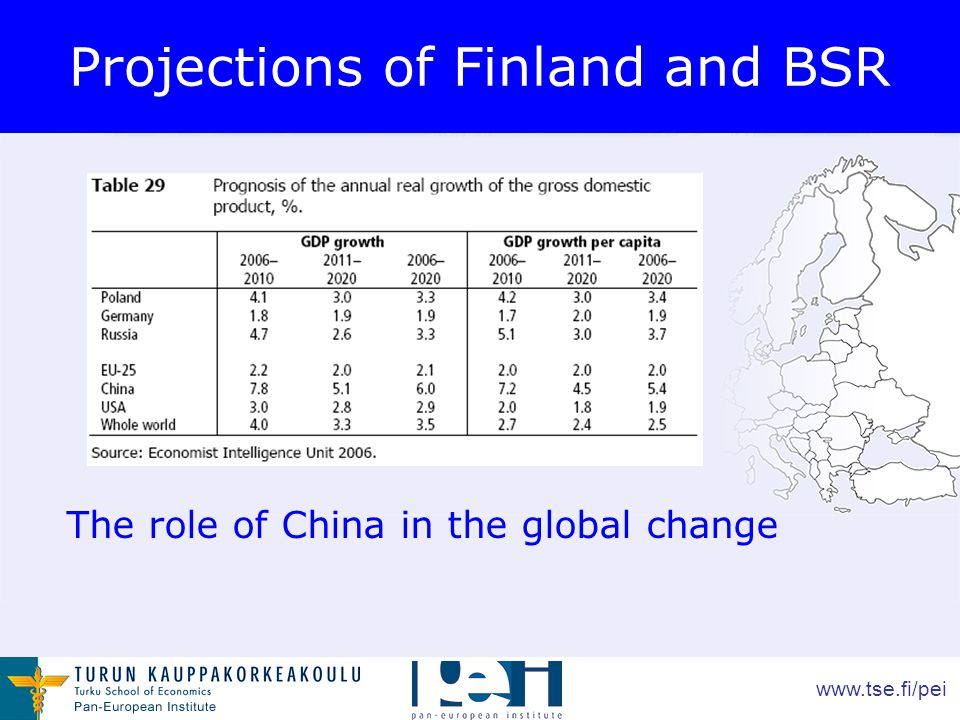 www.tse.fi/pei Projections of Finland and BSR The role of China in the global change