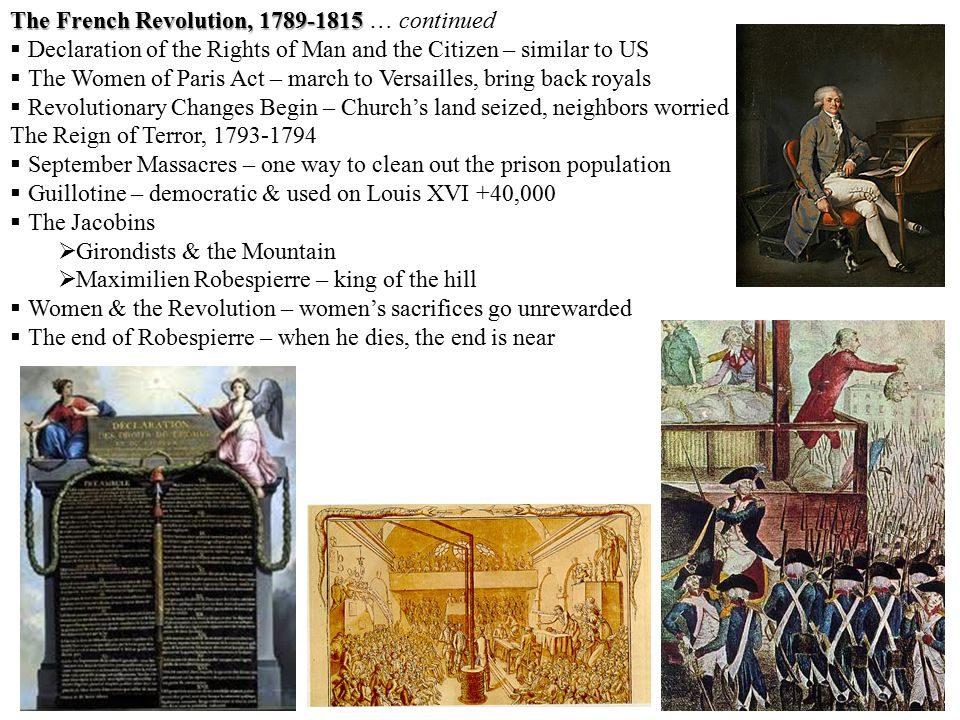 The French Revolution, 1789-1815 The French Revolution, 1789-1815 … continued  Declaration of the Rights of Man and the Citizen – similar to US  The