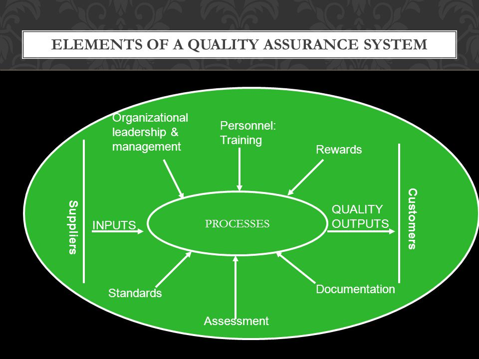 ELEMENTS OF A QUALITY ASSURANCE SYSTEM PROCESSES INPUTS QUALITY OUTPUTS Organizational leadership & management Personnel: Training Standards Assessmen