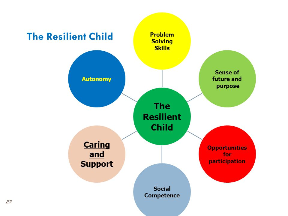 27 The Resilient Child The Resilient Child Problem Solving Skills Sense of future and purpose Opportunities for participation Social Competence Caring and Support Autonomy