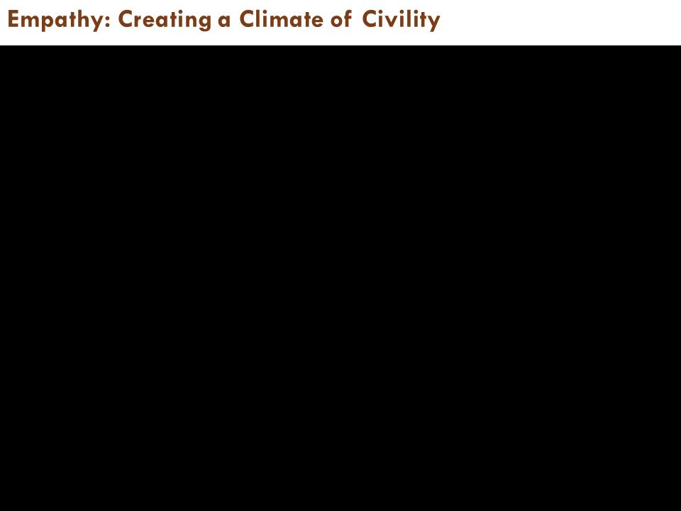 Empathy: Creating a Climate of Civility