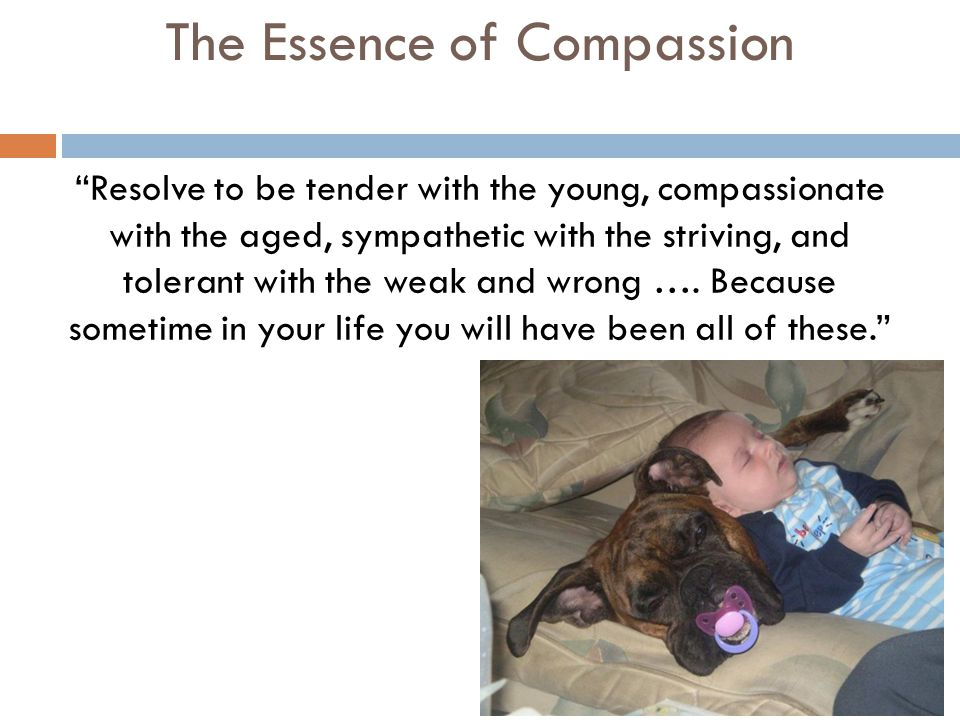 The Essence of Compassion Resolve to be tender with the young, compassionate with the aged, sympathetic with the striving, and tolerant with the weak and wrong ….