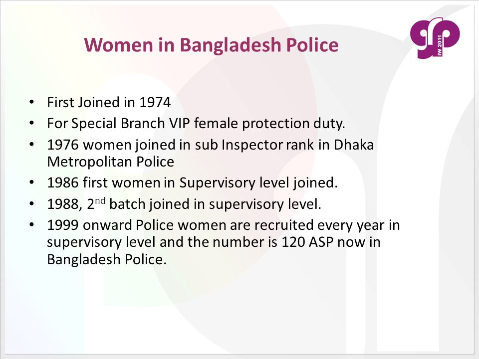 Women in Bangladesh Police First Joined in 1974 For Special Branch VIP female protection duty. 1976 women joined in sub Inspector rank in Dhaka Metrop