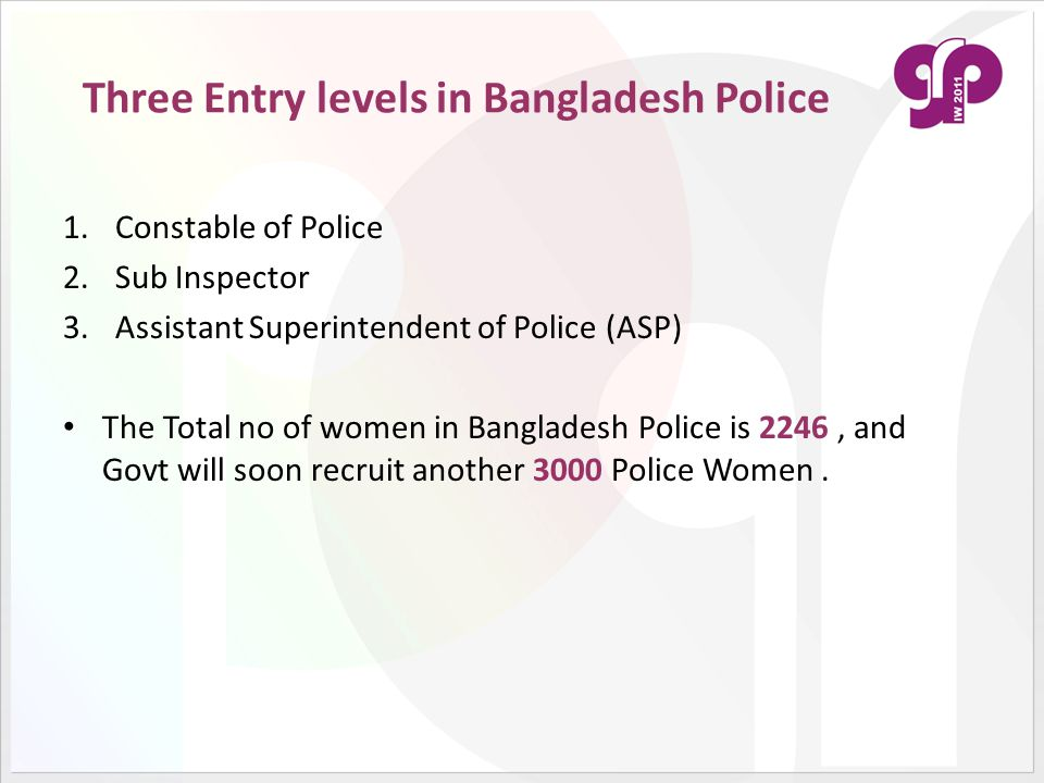 Three Entry levels in Bangladesh Police 1.Constable of Police 2.Sub Inspector 3.Assistant Superintendent of Police (ASP) The Total no of women in Bang