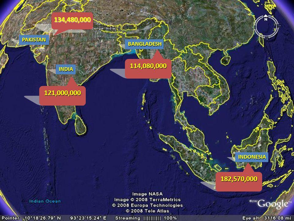121,000,000 INDIA PAKISTAN 134,480,000 BANGLADESH 114,080,000 182,570,000 INDONESIA