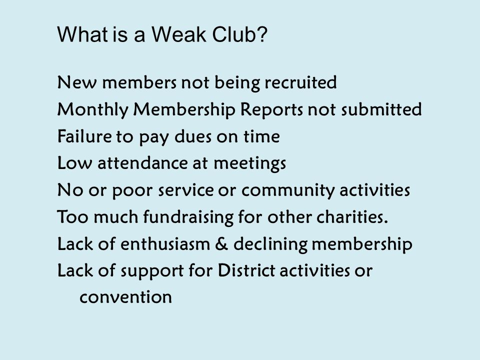 What is a Weak Club.