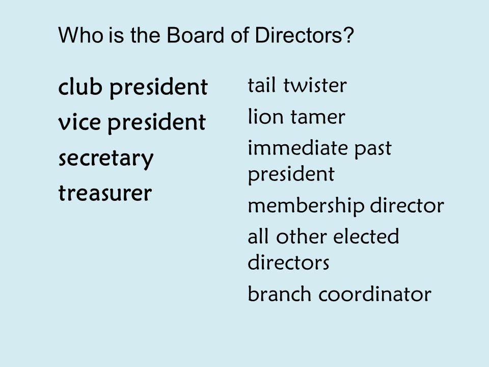 Who is the Board of Directors.