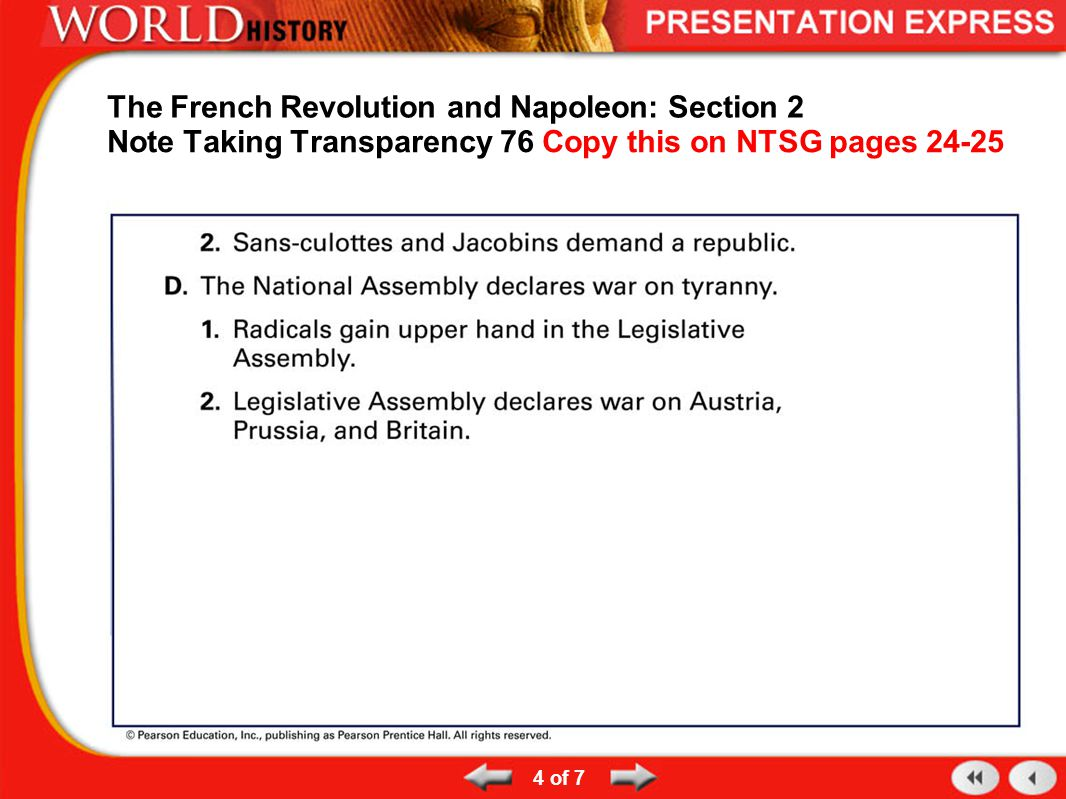 The French Revolution and Napoleon: Section 2 Note Taking Transparency 76 Copy this on NTSG pages 24-25 4 of 7