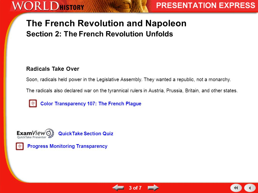 3 of 7 The French Revolution and Napoleon Section 2: The French Revolution Unfolds Radicals Take Over Soon, radicals held power in the Legislative Ass