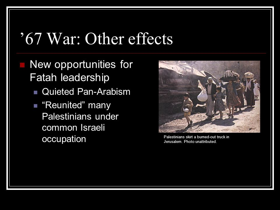 Israeli policies towards the territories: General Physical but not social integration Suppression of Palestinian nationalism Citizenship NOT extended to Palestinians in Occupied Territories Attempts to control as much land as possible economic integration of West Bank and Gaza with Israel proper