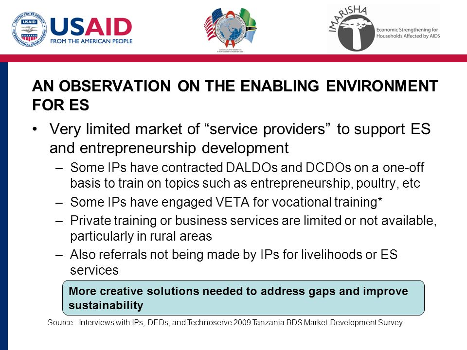 AN OBSERVATION ON THE ENABLING ENVIRONMENT FOR ES Very limited market of service providers to support ES and entrepreneurship development –Some IPs have contracted DALDOs and DCDOs on a one-off basis to train on topics such as entrepreneurship, poultry, etc –Some IPs have engaged VETA for vocational training* –Private training or business services are limited or not available, particularly in rural areas –Also referrals not being made by IPs for livelihoods or ES services Source: Interviews with IPs, DEDs, and Technoserve 2009 Tanzania BDS Market Development Survey More creative solutions needed to address gaps and improve sustainability