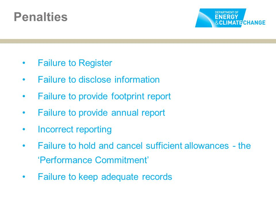 Failure to Register Failure to disclose information Failure to provide footprint report Failure to provide annual report Incorrect reporting Failure t